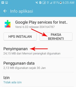 clear cache google services